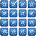 Cobalt Square 2D Icons Set: Computer File Types Stock Photography