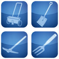 Cobalt Square 2D Icons Set: Garden Tools Royalty Free Stock Photo