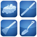 Cobalt Square 2D Icons Set: Garden Tools Royalty Free Stock Image