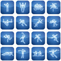 Cobalt Square 2D Icons Set: Sport Royalty Free Stock Photography