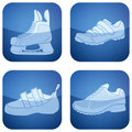 Cobalt Square 2D Icons Set: Sport Shoes Royalty Free Stock Images