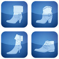 Cobalt Square 2D Icons Set: Woman's Shoes Royalty Free Stock Photography