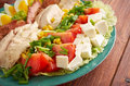 Cobb salad colorful hearty entree sized with bacon chicken boiled eggs corn a main dish american garden Stock Image