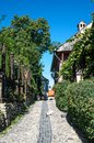 Cobbed street in sighisoara romania is considered to be the most beautiful and well preserved inhabited citadel europe with Royalty Free Stock Photo