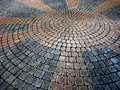 Cobble stone circle pattern detail of for walking in garden path Stock Photography