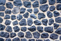 Cobble stone wall harbour in amsterdam all made of stones Stock Image