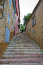Cobbled road view of a at the old town of nafplion greece Royalty Free Stock Images