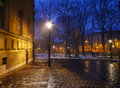 Cobbled street in city center of Krakow, Poland. Royalty Free Stock Photo