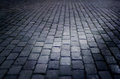 Cobbled street floor tile old brick style at night Royalty Free Stock Photo