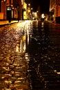 Cobbled street night rain B Royalty Free Stock Photo