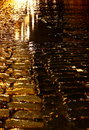 Cobbled street night rain C Royalty Free Stock Photo