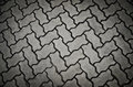 Cobblestone background symmetrical forms in cement pavers Royalty Free Stock Photos