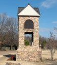 Cobblestone gazebo situated an the entrance of a gated community Stock Image