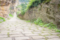 Cobblestone path in Luxembourg's Grund Valley Royalty Free Stock Photo