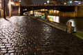 Cobblestone paved quay paris night Royalty Free Stock Photo