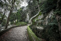 Cobblestone road to the palace foam among the rocks and trees Royalty Free Stock Photo