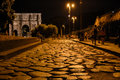 Cobblestone roadway in rome italy Royalty Free Stock Images