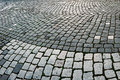 Cobblestone sidewalk made of cubic stones detail Stock Images