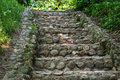 Cobblestone stairs in the woods Royalty Free Stock Photo