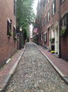 Cobblestone street beacon hill boston acorn Stock Photo