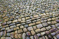 Cobblestone street after the rain a slick glistens a rainstorm Royalty Free Stock Photography
