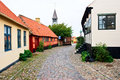 Cobblestone street in a small village Royalty Free Stock Photo