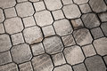 Cobblestone with tire track gray urban Royalty Free Stock Photos