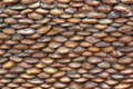 Cobblestone wall brown stone in the resort Royalty Free Stock Images