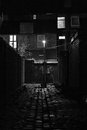 Cobblestoned back alley with streetlight at night dark inner city Royalty Free Stock Photography
