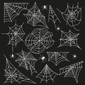 Cobweb set spider web halloween black vector Royalty Free Stock Photo