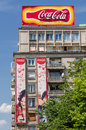 Coca cola building bucharest romania may advertising on may in bucharest romania it is a carbonated soft drink sold in stores and Royalty Free Stock Photography