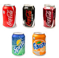 Coca-Cola, Fanta And Sprite Bottle Cans Royalty Free Stock Photo