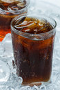 Coca cola a glass of with ice cubes Royalty Free Stock Photography