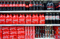 Coca cola shelves of for sale in a supermarket in portugal Stock Photography