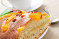 Coca de sant joan typical sweet flat cake from catalonia spain a piece of a eaten on saint johns eve and a cup of hot chocolate in Stock Photo