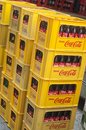 Cocacola box unloaded from delivery truck Royalty Free Stock Photo