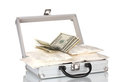 Cocaine with money in a suitcase Stock Images