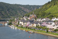Cochem along river moselle in germany aerial cityview of Royalty Free Stock Photography