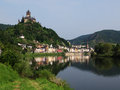 Cochem with its castle on river moselle is the seat of and the biggest place in the zell district in rhineland palatinate germany Royalty Free Stock Photography
