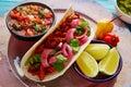 Cochinita pibil mexican food with pico de gallo lemon and chili Royalty Free Stock Photography