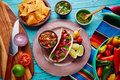 Cochinita pibil mexican food with pico de gallo lemon and chili Royalty Free Stock Images