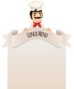 Cocinero looking en el menú en blanco en el top Foto de archivo libre de regalías