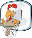 Cockerel the basketball player cartoon cock sitting in a basket Royalty Free Stock Images