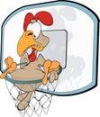 Cockerel the basketball player. Cartoon Royalty Free Stock Photo