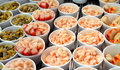 Cockles, prawns and crabsticks Royalty Free Stock Photo