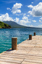 Cockleshell bay pier the is located on on the caribbean island of st kitts in the west indies the island of nevis can be seen in Stock Photos