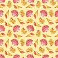 Cockleshells seamless pattern vector cartoon background Stock Photos