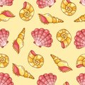Cockleshells seamless pattern yellow on the vector background Royalty Free Stock Image
