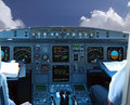 COCKPIT IN AIRLINER Stock Photos