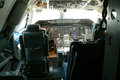 Cockpit a photo of the inside of a plane showing crew seating and instrument panels Royalty Free Stock Photos